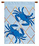 Double Appliqued Blue Crabs 18 X 13 Inch Polyester Garden Flag