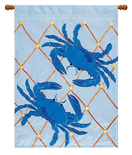 Double Sided Appliqued Garden Flag - Double Appliqued Blue Crabs 18 X 13 Inch Polyester Garden Flag