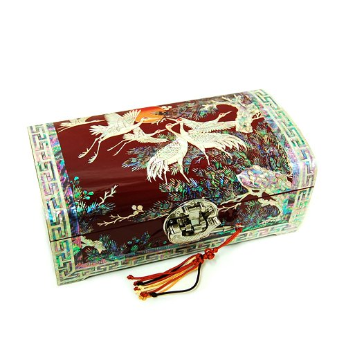 Unique Red Lacquer Jewellery Box - Mother of Pearl Crane Moon Design Asian Red Lacquer Wooden Mirror Velvet Jewelry Trinket Keepsake Treasure Gift Girls Necklace Ring Box Chest Case Organizer with Fish Lock Key