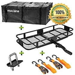 """Mockins Hitch Mount Cargo Carrier   The Steel Cargo Basket is 60"""" Long X 20"""" Wide X 6"""" Tall with A Hauling Weight Capacity of 500 Lbs and A Folding Shank to Preserve Space When Not in Use ..."""