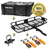 "Mockins Hitch Mount Cargo Carrier | The Steel Cargo Basket is 60"" Long X 20"" Wide X 6"" Tall with A Hauling Weight Capacity of 500 Lbs and A Folding Shank to Preserve Space When Not in Use ..."