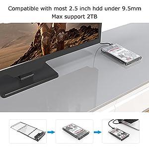 ELUTENG External Hard Drive Enclosure 2.5 inch HDD / SSD Case Clear Caddy USB3.0 5Gbps Super Speed SATA Transparent SATA to USB Tool free Box UASP