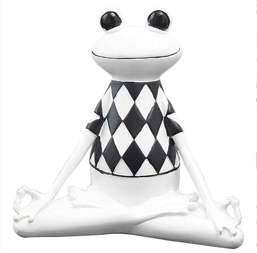 tobbrt Figuras de Resina de Rana de Yoga Ornamento de Rana de Dibujos Animados Lindo Decoración de Animales creativos Miniaturas para Sala de Estar
