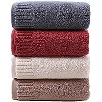 CHOUREN Solid Color Thick Large Bath Towel Cotton Shower Face Towels Set Home Bathroom Hotel Adults Kids (Color : Grey…