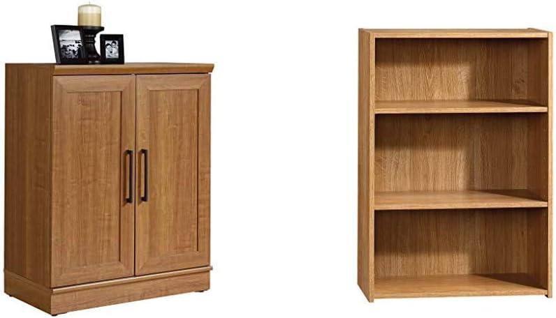 Sauder Homeplus Base Cabinet, Sienna Oak Finish & Beginnings 3-Shelf Bookcase, Highland Oak Finish