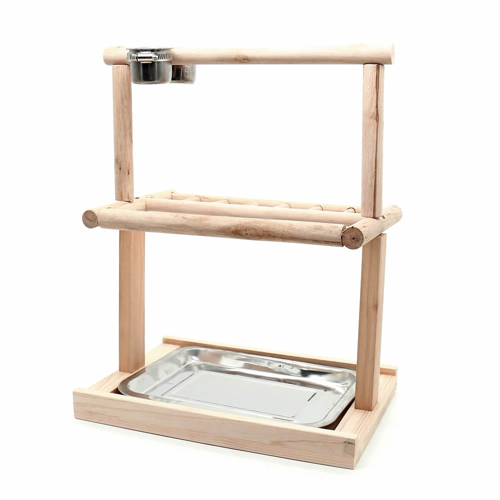 Mrli Pet Parrots Playstand Bird Playground Wood Perch Gym Stand Playpen Bird Ladders Exercise Playgym for Electus Cockatoo Parakeet Conure Cockatiel Cage Accessories Exercise Toy (Include A Tray) by Mrli Pet (Image #1)