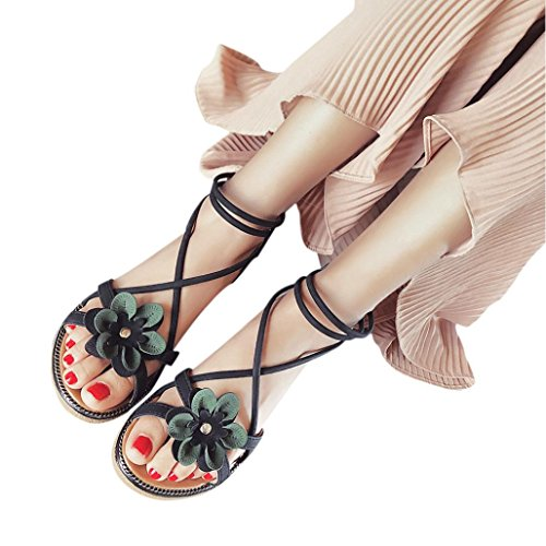 DENER Women Girls Ladies Summer Flat Platform Low Heel Anti Skidding Cross Strap Bandage Flowers Bohemia Wedge Open Toe Ankle Strap Strappy Buckle Elastic Solid Sandals Beach Shoes (Black, 40)