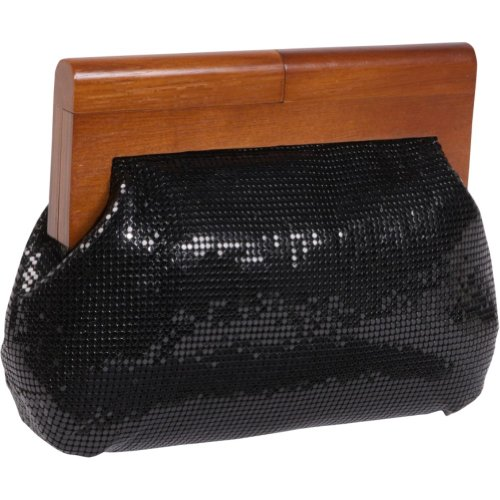 Whiting and Davis Heidi Wood Framed Mesh Clutch (Black), Bags Central
