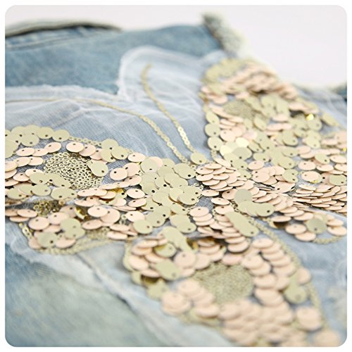 Mud Kingdom Girls' Sequin Butterfly Denim Vest Button-down 6T Blue by Mud Kingdom (Image #5)