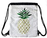 Neasyth Mermaid Sequins Drawstring Backpack, Reversible Glittering Dance Drawstring Bag Yoga Gym Gift For Girls Women kids (pineapple-) Review