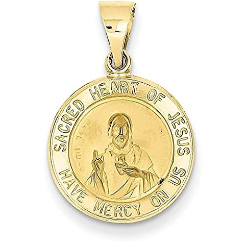14K Yellow Gold Polished and Satin Sacred Heart of Jesus Medal Pendant - (0.71 in x 0.59 in) - Gold Heart Medal