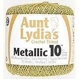 Coats Crochet and Floss Aunt Lydia's Metallic Thread Size 10-Gold