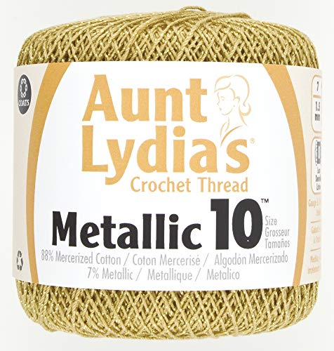 Coats Crochet 154M-0090G Metallic Crochet Thread, 10, Gold -