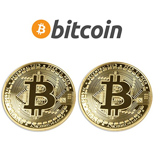 - M1N1NG19 2PCs Gold Plated Bitcoins | HODL Cryptocurrency | Limited Edition BTC Crypto Coins Mining | Unique Gifts for Adults/Funny Gift