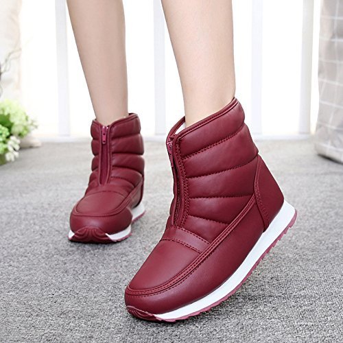 SQIAO-X- Inverno madre scarpe scarpe di cotone vecchi Snow Boots stivaletti caldo impermeabile corto a fondo piatto e stivali ,43, anziani nero