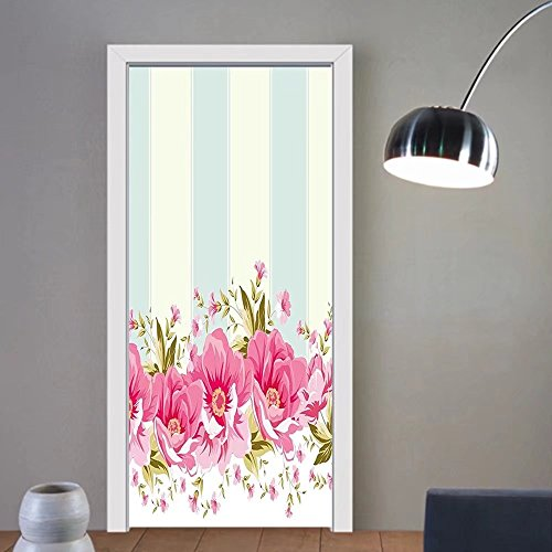 Gzhihine custom made 3d door stickers Vintage Pink Peony Border on Vertical Striped Tile Bridal Wedding Design Coconut Light Blue Light Pink For Room Decor 30x79 ()