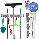 Best Broom Holder   Powerful Mop Broom Holder with 3 positions 4 Hooks Load Max 6.6-11lbs   Secure Non-Slide and Sturdy Wall Mount Weatherproof Cleaner Hanger   Screws Included   Grey   10.4