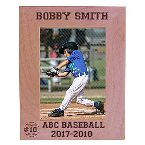 - Personalized Baseball Hitter/Pitcher Custom Engraved Alder Wood Picture Frame - Add Your Baseball Name, Team Name, and Jersey Number (5x7 Vertical)