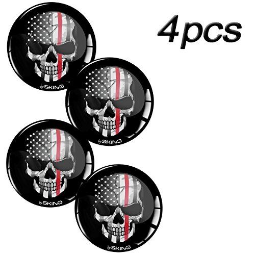 Skino 4 x 3D Gel Silicone Stickers for Rims Wheel Center Centre Hub Caps Auto Tuning Skull USA Flag A 69 (60mm/2.36