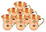 IndianArtVilla Set of 6 Pure Copper Hammered Glass with Brass Handle 400 ML each - Drinkware Home Hotel Restaurant Tableware Serveware