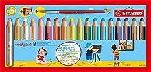 Stabilo Woody 3 en 1 Lápiz multitalento - Estuche con 18 colores y sacapuntas, Multicolor