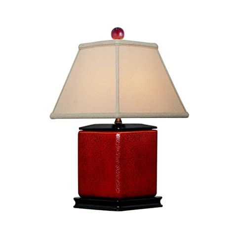 Red Crackle Diamond Shaped Porcelain Table Lamp 16u0026quot;