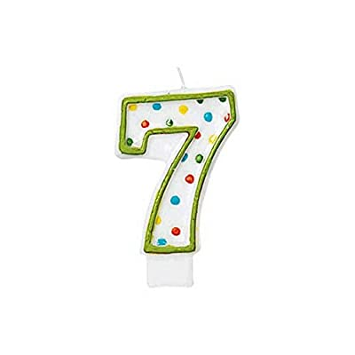 "Amscan 176007 Polka Dots #7 Flat Molded Candles, 5.75"" x 3"", Multicolor: Birthday Candles: Kitchen & Dining"