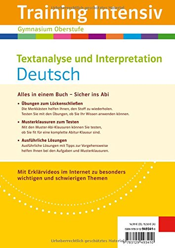 Klett Training Intensiv Textanalyse Und Interpretation Deutsch Für