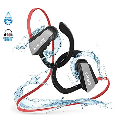 Bluetooth Headphones wireless, IPX7 Waterproof Headphone for Sporting &Running,10-12 Hours Playtime, HiFi Bass Stereo Earbuds with Mic,Noise Cancelling in-Ear Headphone