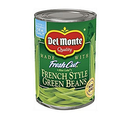 Del Monte Fresh Cut French Style Non-GMO Blue Lake Green Beans w/ Natural Sea Salt 14.5oz. Cans (6 Pack)