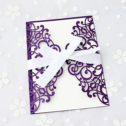 50-Pcs-Exquisite-Carving-Wedding-Invitation-Kits-with-Silk-Ribbon
