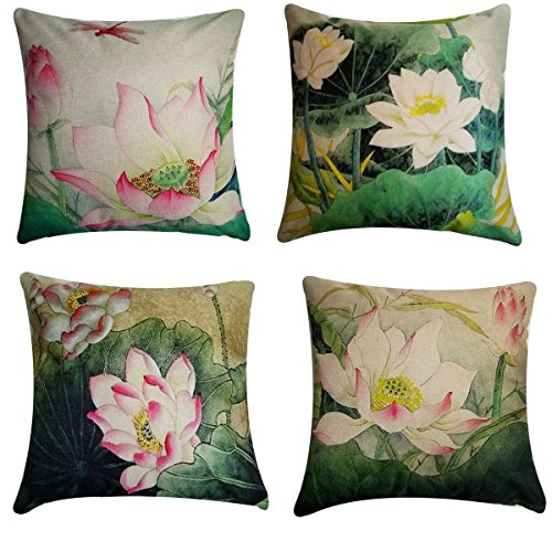 Lotus Cushion Cover - NING Sofa Decorative Throw Pillow Case Set of 4 Cotton Linen Cushion Cover 18X18 Inches (Lotus)