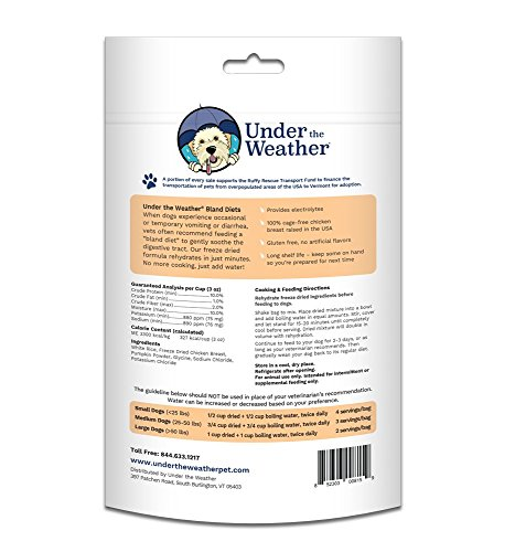 Product image of Under the Weather Easy to Digest Bland Dog Food Diet for Sick Dogs - Contains Electrolytes - Gluten Free, All Natural, Freeze Dried 100% Human Grade Meats (Rice, Chicken, and Pumpkin)