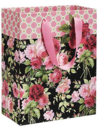 Anna Griffin Prints - Anna Griffin Rose Black Deluxe Gift Bag with Gift Tag, Large (GB443)