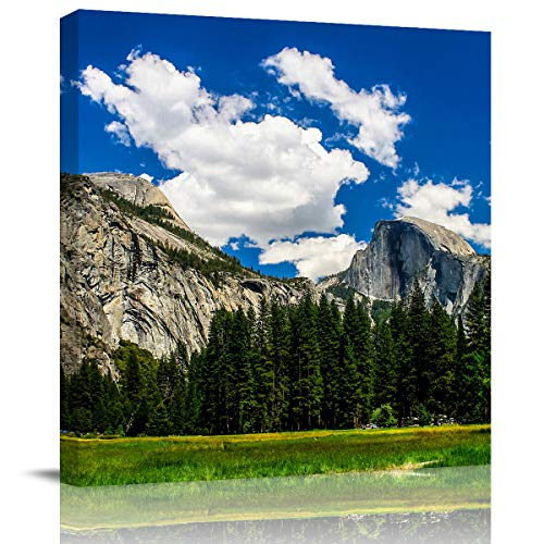 Canvas Print Wall Art Painting Decor, Modern Home Decorations Giclee Artwork HD Picture Strenched and Framed, Rocky Mountains Natural Landscape Under Blue Sky and Cloudy Sky Ready to Hang, 8 x 8 inch