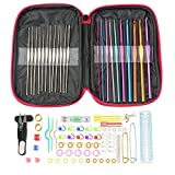 Crochet Hooks Set Multicolor Aluminum Crochet Hooks Knitting Needles with Accessories Tools (100 pack)