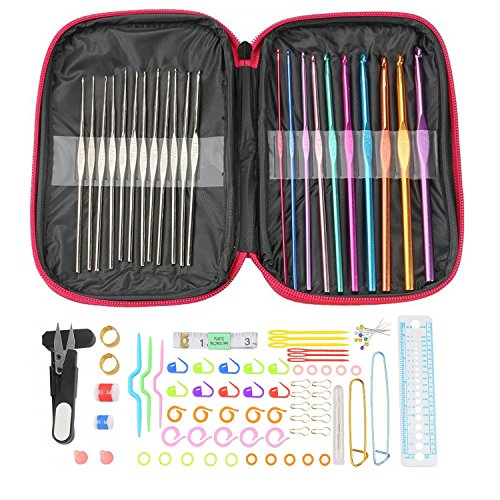Crochet Hooks Set Multicolor Aluminum Crochet Hooks Knitting Needles with Accessories Tools (100 pack) by ACBAGI