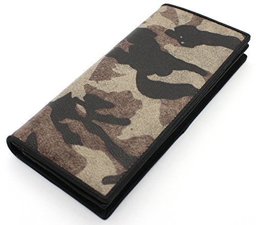 Mens Genuine Leather Camo Bifold Secretary Wallet Long Breast Checkbook ID Window - Wallet Secretary Breast Mens