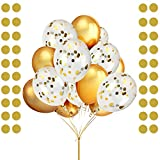 LeeSky 50 Pack 12 Inches Gold Latex Party Balloons ,12 Pack 12 Inches Gold Confetti Balloons and Gold Glitter Circle Dots Garland Banner- Party Decoration Accessories & Party Favors
