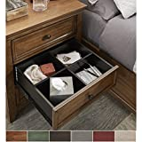iNSPIRE Q Ediline 3-drawer Wood Modular Storage Nightstand with Charging Station by Classic Grey Antique