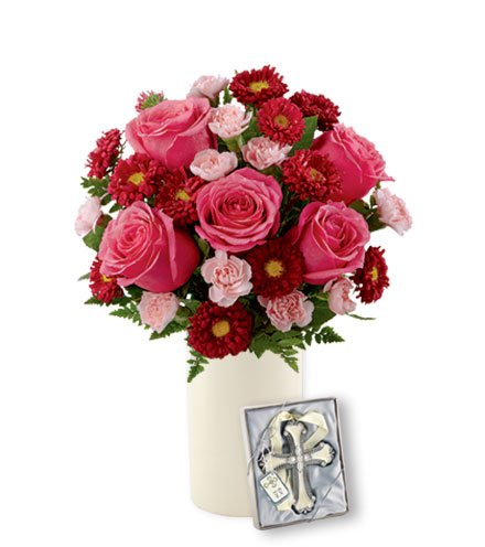 Blooming Heart with Cross Ornament