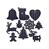 Dhfkdsk Cute Spaceship and Star Alien Robot Pentagram Christmas Ornaments Wooden Hanging Tags Pendant Christmas Tree Hanging Decoration