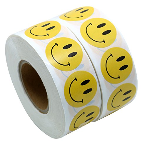 Hybsk Yellow Smiley Face Happy Stickers 1'' Round Circle Teacher Labels 1000 Total Per Roll (2 Rolls) by Hybsk