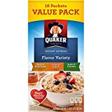 Quaker Flavor Variety Instant Oatmeal Value Pack, 18 count, 27.3 oz