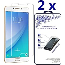 [2-Pack] Samsung Galaxy C7 Pro ,Naocdexd HDTempered Glass Screen Protector with [No bubbles] [2.5D Rounded Edge] [Easy to Install] for Samsung Galaxy C7 Pro