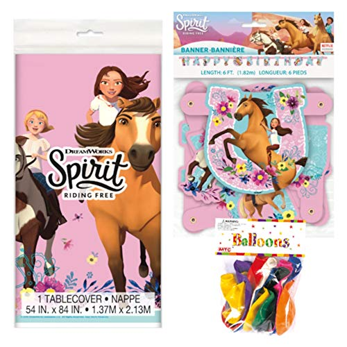Spirit Riding Free Themed Party Decorations - Includes Party Banner,Tablecloth and Ten 12