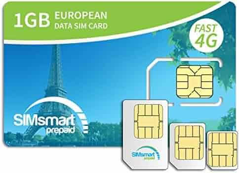SIMsmart Prepaid 1GB Europe Data SIM Card - 33 countries - 4G Speeds