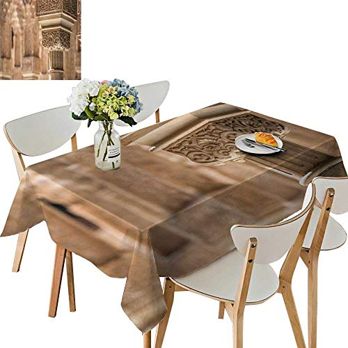 UHOO2018 Solid Tablecloth a Decorate Pillar in The Alhambra Near gr ada Spain Square/Rectangle Spillproof Fabric Tablecloth,54 x125inch.