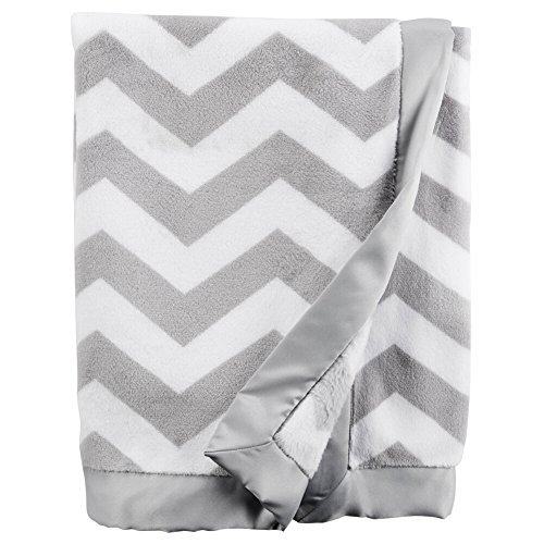 (Carter's Baby Chevron Plush Blanket Gray/White)