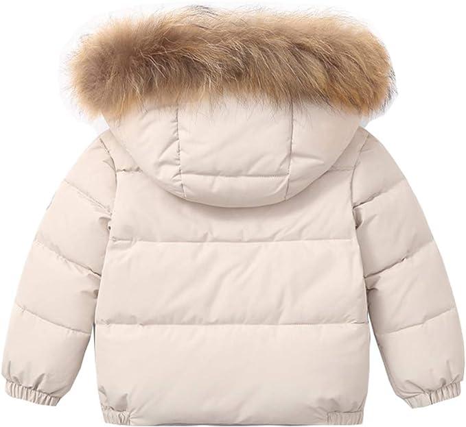 Niños Chaquetas de Pluma Abrigo Invierno con Capucha Extraíble Niñas Abrigos para la Nieve Espesar Acolchado Otoño Cálido Ropa Beige 2-3 Años